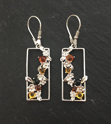 Tri-Colour and Silver Flower Drop Earrings
