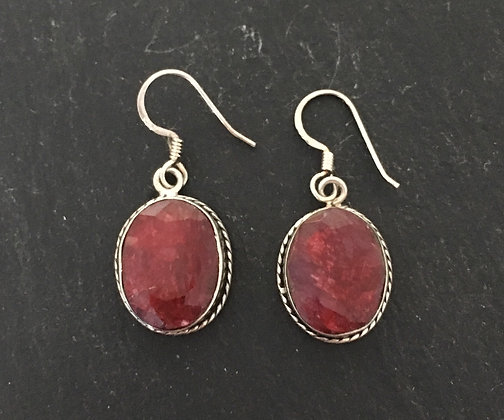 Oval Ruby Drop Earrings