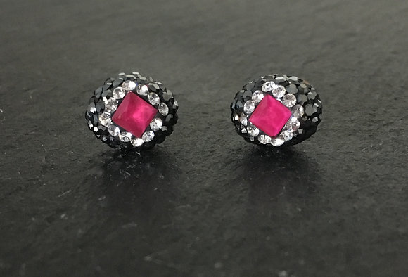 Ruby, Cubic Zirconia & Crystal Oval Stud Earrings