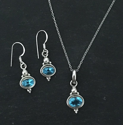 Oval Swiss Blue Topaz and Silver Set
