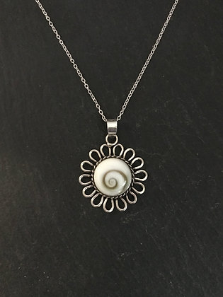Shiva Shell and Silver Flower Pendant