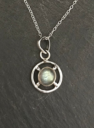 Labradorite and Silver Round Pendant
