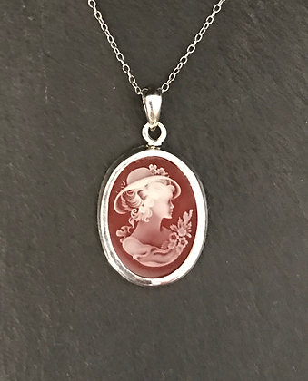 Red Cameo Style Pendant