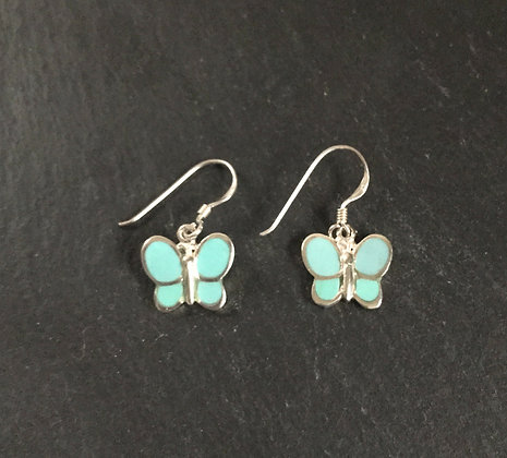 Turquoise and Silver Butterfly Earrings