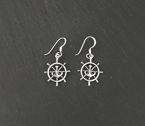 Silver Wheel and Anchor Earrings
