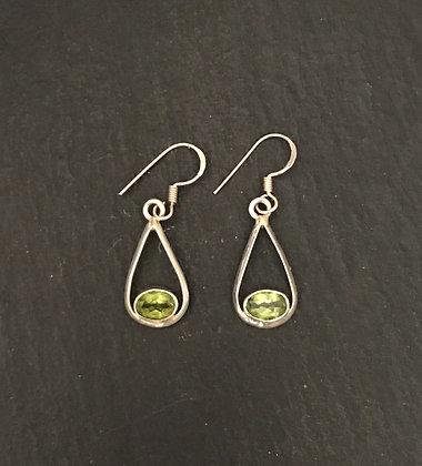 Peridot and Silver Teardrop Earrings