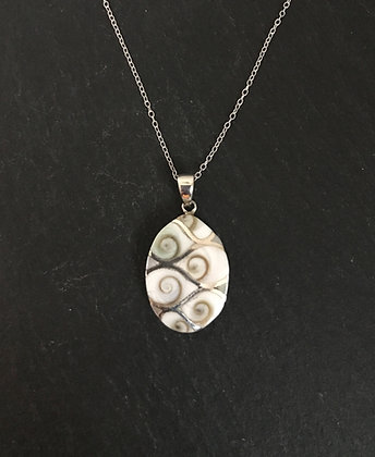 Shiva Shell and Silver Oval Pendant