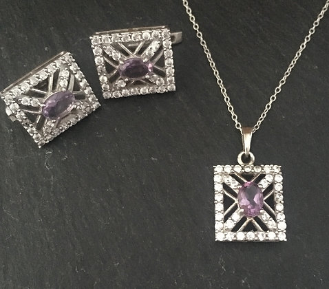 Amethyst and Cubic Zirconia Set