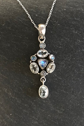 Moonstone and Blue Topaz Pendant with Drop