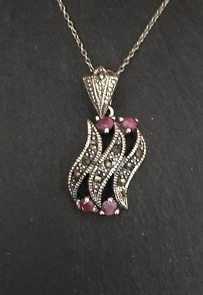 Ruby and Marcasite Pendant