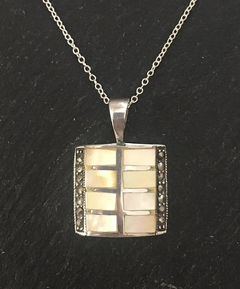 Yellow Mother of Pearl and Marcasite Pendant