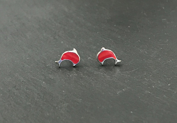 Coral Dolphin Stud Earrings