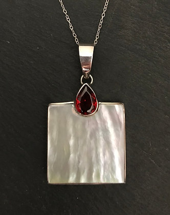 Garnet and Mother of Pearl Square Pendant