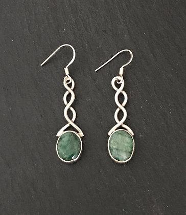 Emerald and Silver Earrings