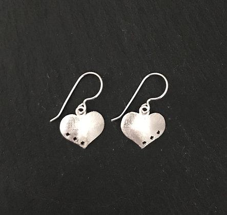Satin Finish Heart Silver Drop Earrings