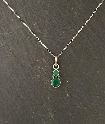Emerald Two Stone Drop Pendant