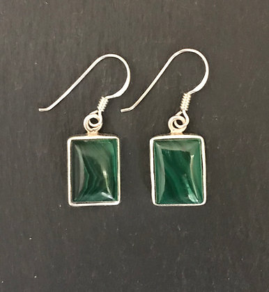 Malachite Rectangle Earrings