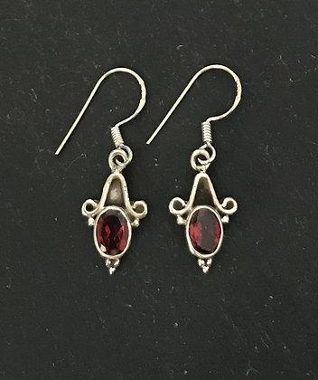 Oval Garnet and Silver Earrings