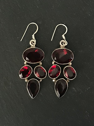 Four Stone Garnet and Silver Earrings