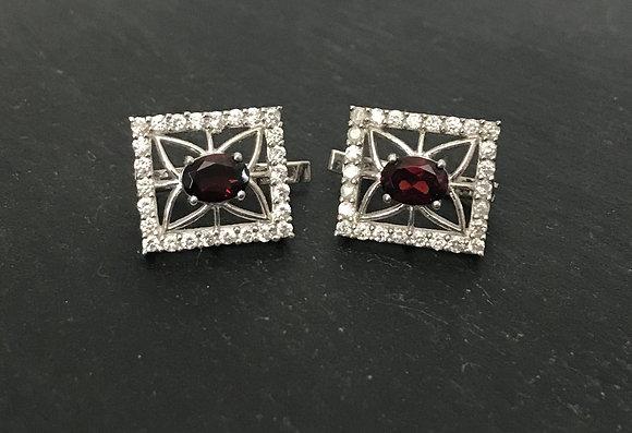 Garnet and Cubic Zirconia Rectangle Earrings