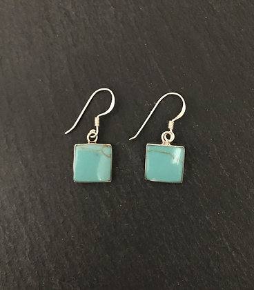 Square Turquoise and Silver Earrings