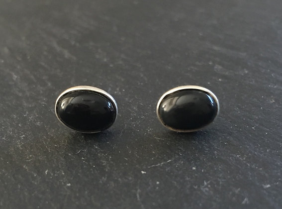 Black Onyx and Silver Oval Stud Earrings