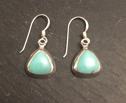 Turquoise Triangle and Silver Earrings