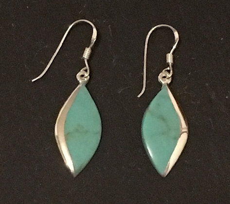 Turquoise and Silver Diamond Earrings