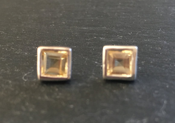 Citrine Square Stud Earrings