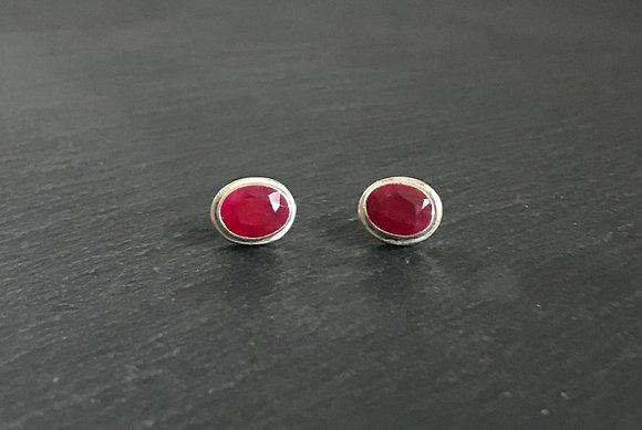 Large Oval Ruby Stud Earrings