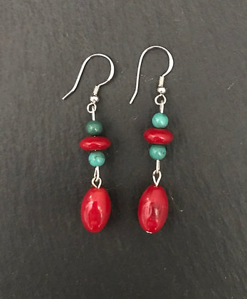 Coral and Gemstone Earrings