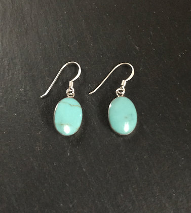 Oval Turquoise and Silver Earrings