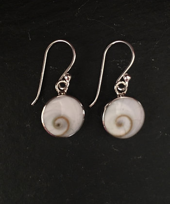Shiva Shell and Silver Round Drop Earrings