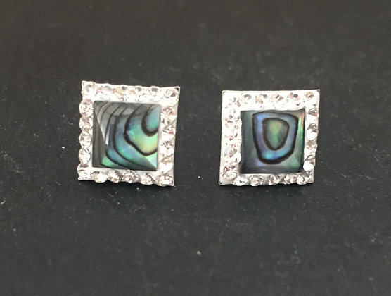 Paua Shell and Cubic Zirconia Studs