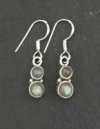 Two Stone Labradorite and Silver Round Drop Earrings
