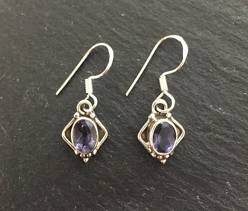 Iolite and Silver Kite Earrings