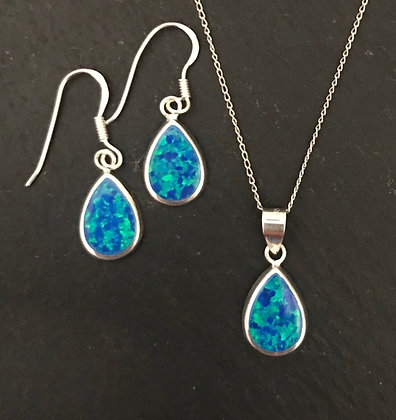 Synthetic Opal Teardrop Set