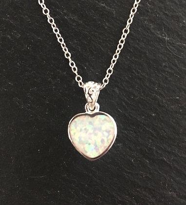 Synthetic Opal Heart Pendant