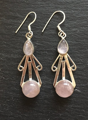 Two Stone Rose Quartz and Silver Drop Earrings