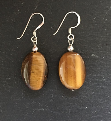 Tiger's Eye Oval Drop Earrings