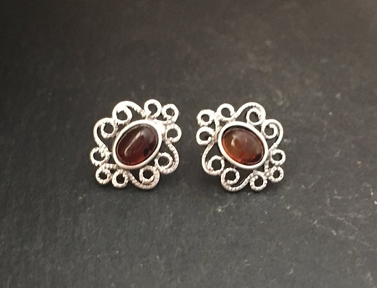 Amber and Silver Oval Studs