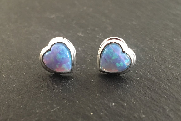Synthetic Opal Heart Studs