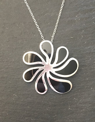Black Onyx and Silver Flower Swirl Pendant