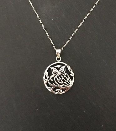 Round Silver Owl Pendant