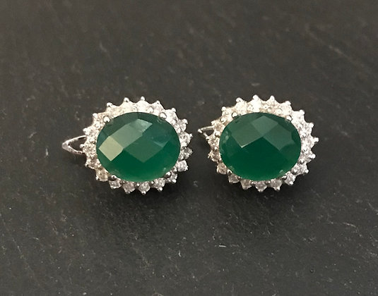 Emerald and Cubic Zirconia Stud Earrings