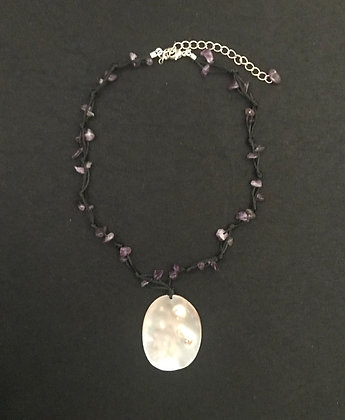 Amethyst and Shell Pendant