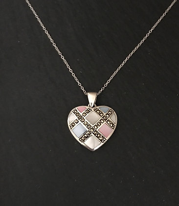 Coloured Mother of Pearl Heart Pendant