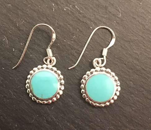 Turquoise and Silver Round Earrings
