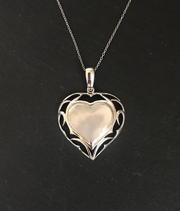Mother of Pearl and Silver Heart Pendant