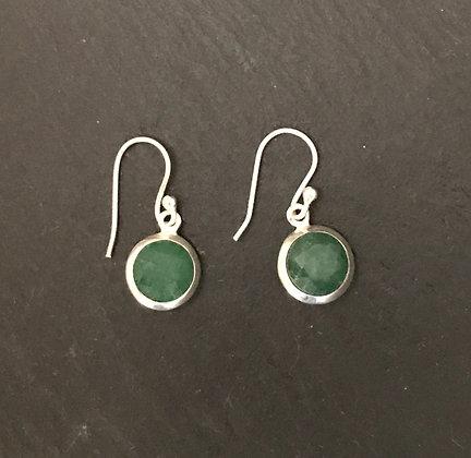 Round Emerald Earrings